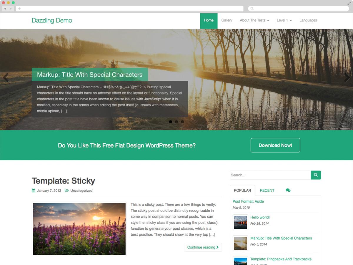 Dazzling - Theme WordPress thiết kế phẳng miễn phí