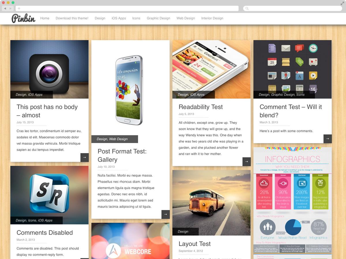 Pinbin - Theme WordPress cá nhân miễn phí