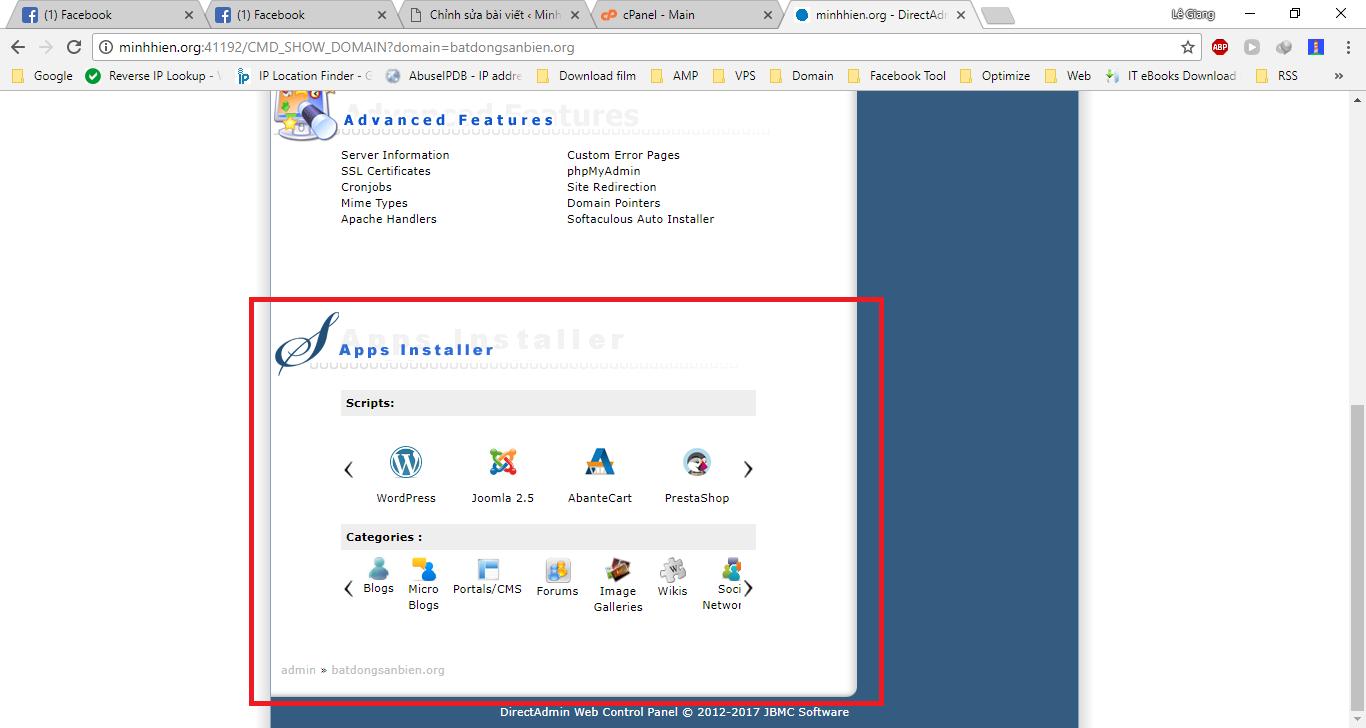 Cài đặt wordpress trên Hosting Cpanel/DirectAdmin với Softaculous