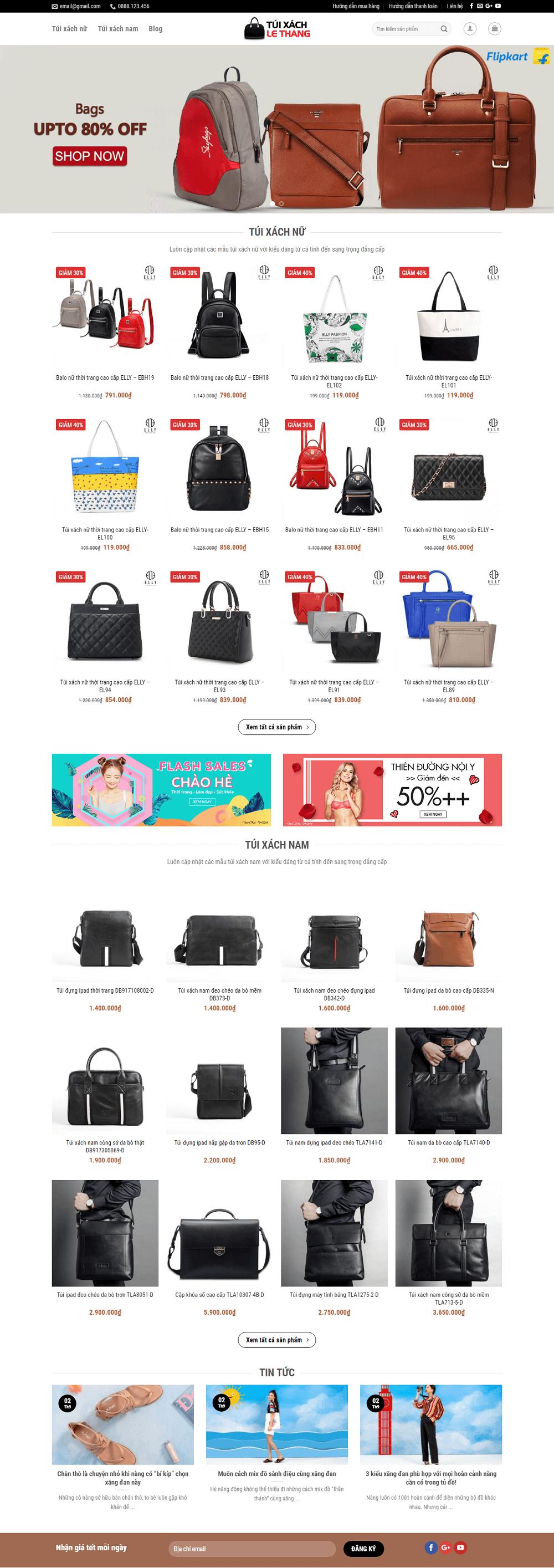 Theme WordPress bán túi xách thời trang nam nữ tuyệt đẹp