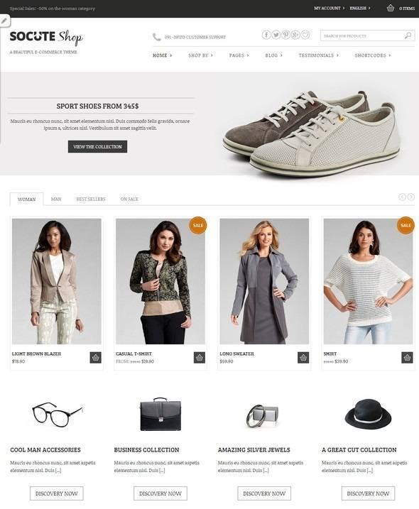 Theme WordPress thời trang miễn phí Socute