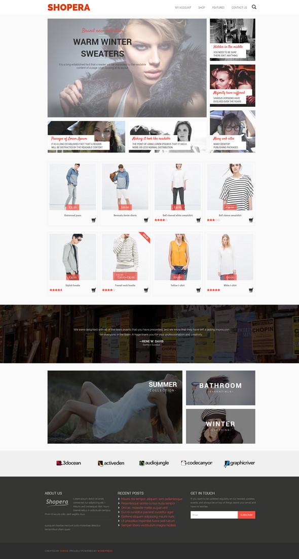 Shopera – theme WordPress bán hàng miễn phí làm shop thời trang